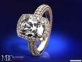 ES198CURG Tonnaeau Cushion Diamond Halo Engagement ring
