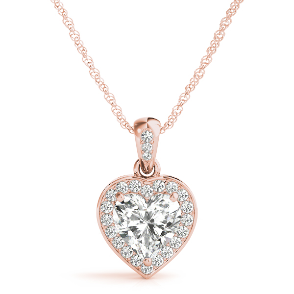 Heart Halo Diamond Pendant Rose Gold