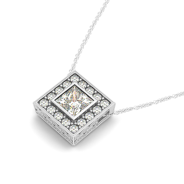 Vintage Bezel Princess Halo Diamond Pendant 0.64ct