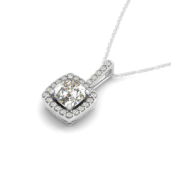 Cushion Filigree Halo Diamond Pendant 1.39ct