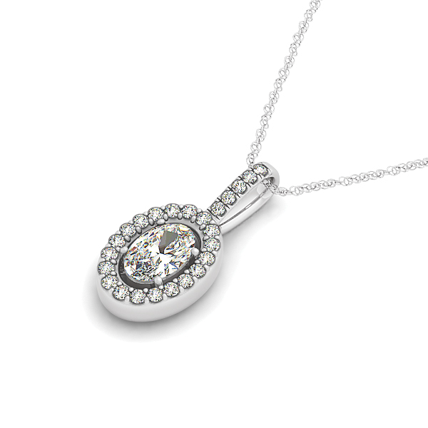 Oval Halo Diamond Pendant 0.62ct