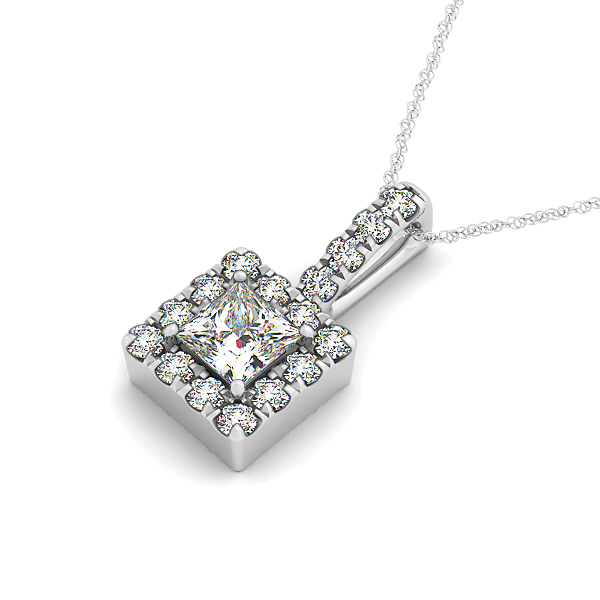 Princess Halo Diamond Pendant 0.67ct