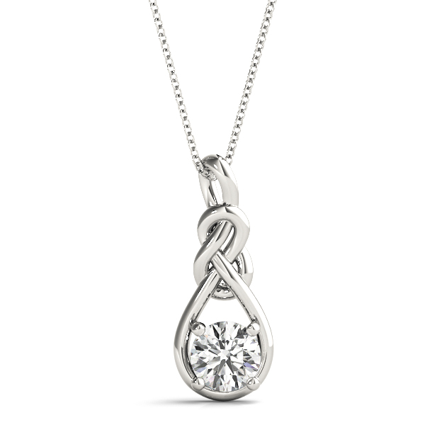 Double Love Knot Solitaire Diamond Pendant