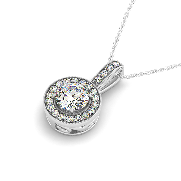 Filigree Halo Diamond Pendant 0.68ct