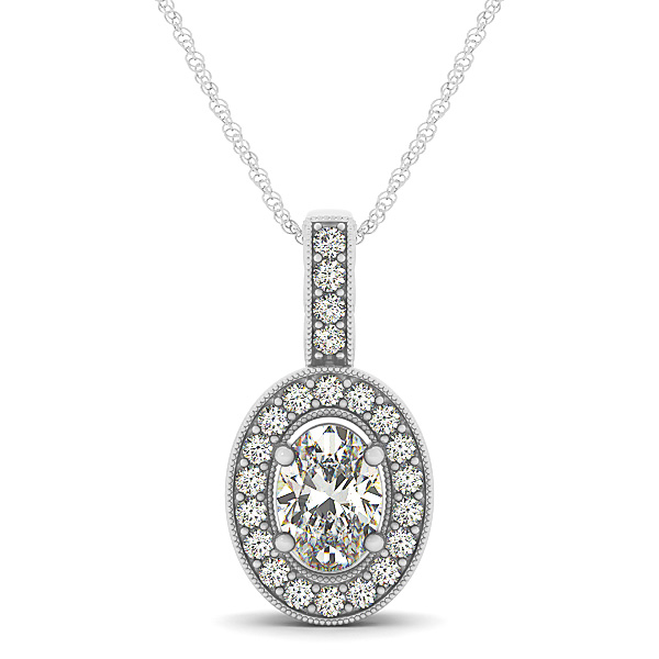 Vintage Filigree Oval Halo Diamond Pendant 0.7ct