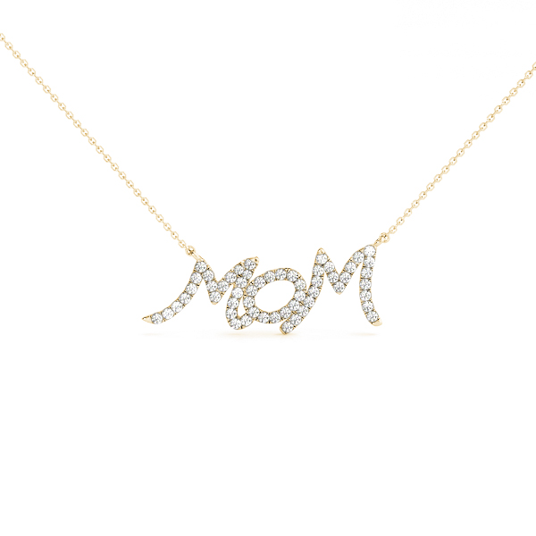 Diamond Mom Pendant Yellow Gold