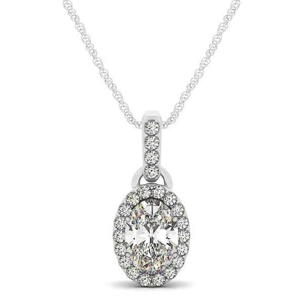 Oval Halo Diamond Pendant 0.64ct