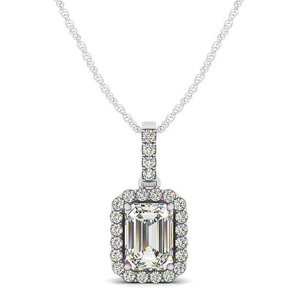 Emerald Halo Diamond Pendant 0.92ct