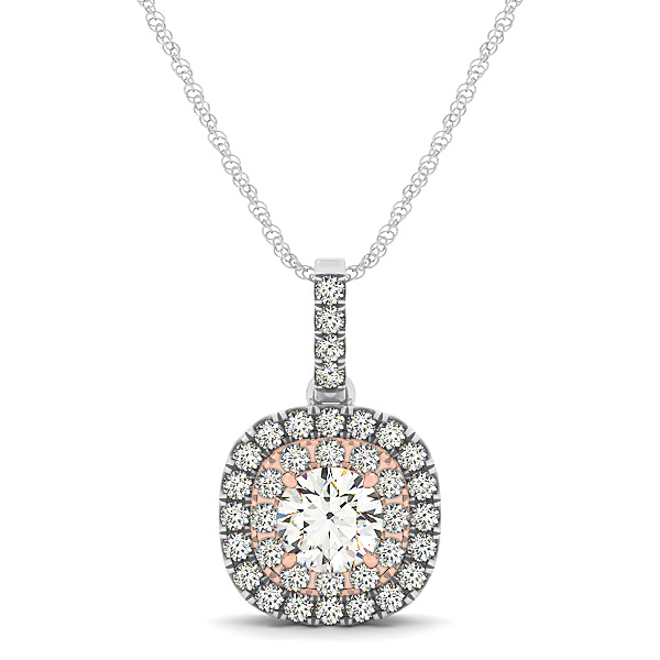 Two Tone Double Halo Diamond Pendant 0.35ct