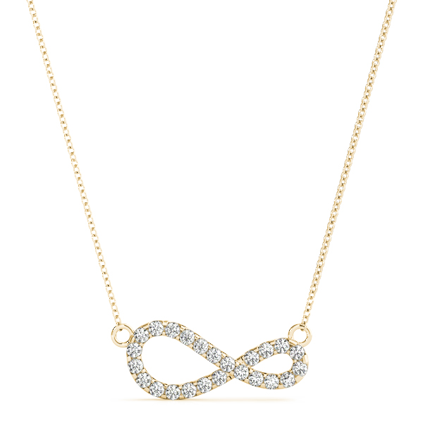 Modern Infinity Diamond Pendant Yellow Gold