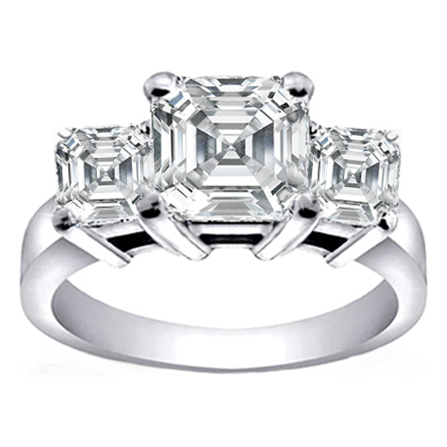 Three Stone Asscher Cut Diamond Anniversary-Engagement Ring 0.48 tcw. In 14K White Gold