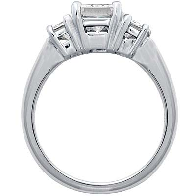 3 Stone Emerald Cut Diamond Engagement Ring Like Jamie-Lynn DiScala's 1.00 tcw.