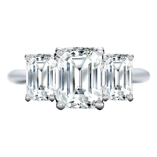 3 Stone Emerald Cut Diamond Engagement Ring Like Jamie-Lynn DiScala's 1.00 tcw. In 14K White Gold