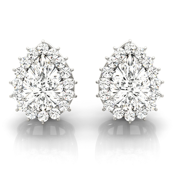 Pear Floral Halo Diamond Earrings 0.64
