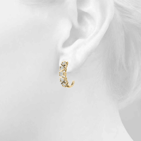 Diamond XO Hoop Earrings Rose Gold