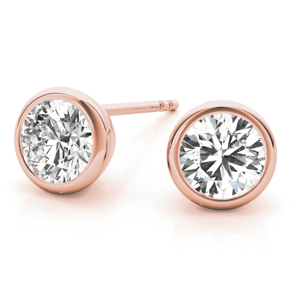 Round Bezel Earrings 1.0 Ct. Rose Gold