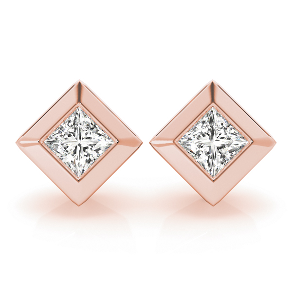 Princess Bezel Earrings 1.0 Ct. Rose Gold