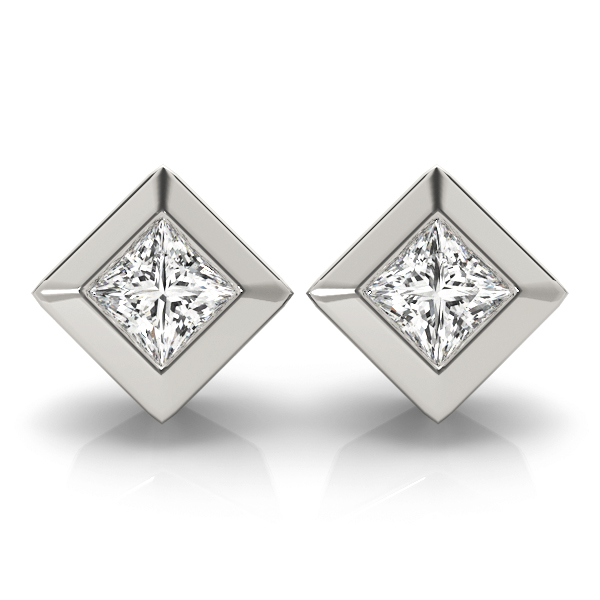 Princess Bezel Stud Earrings 1.0 Ct.