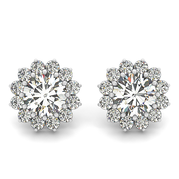 Round Floral Halo Diamond Earrings 1.84
