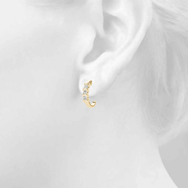 Three Stone Diamond Hoops Yellow Gold