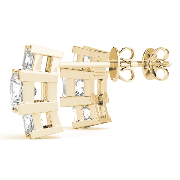 3 Princess Diamond Earrings Yellow Gold