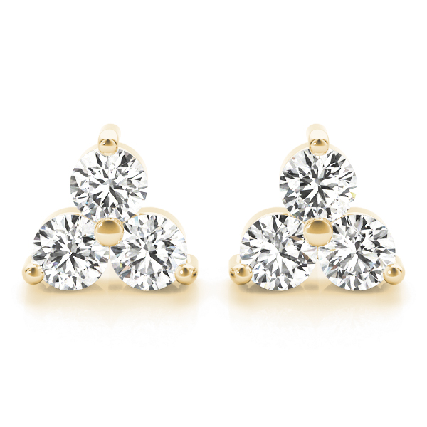 3 Stone Triangle Diamond Earring Yellow Gold