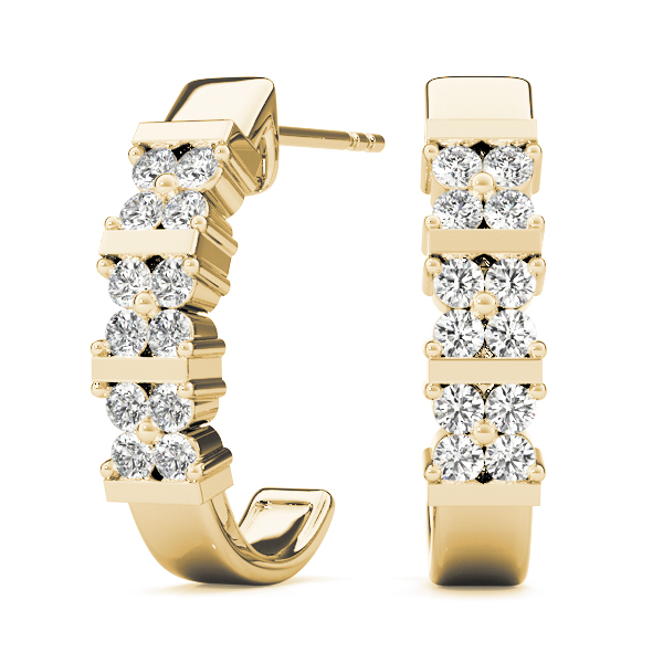 Floral Hoop Earrings Yellow Gold