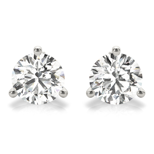 Three Prong Martini Stud Diamond Earrings