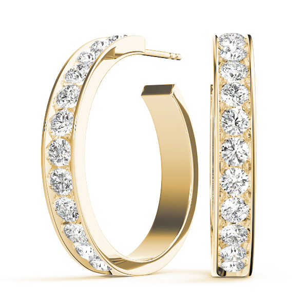Open Hoop Earrings Yellow Gold 1.92 Ct.