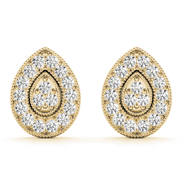 Tear Drop Diamond Earrings Yellow Gold