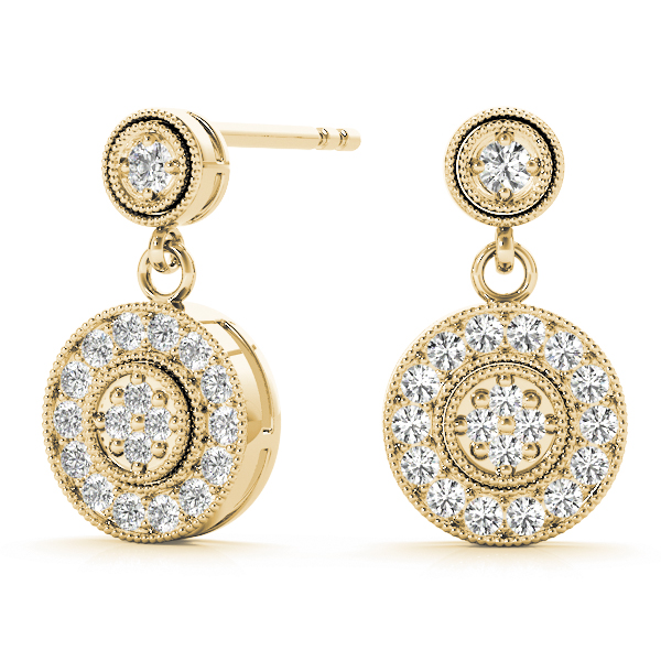 Diamond Cluster Drop Earrings Yellow Gold