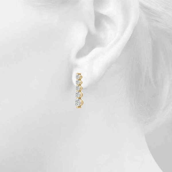 5 Diamond Journey Earrings Yellow Gold