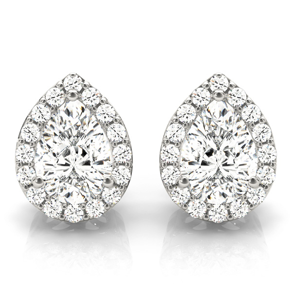 Filigree Pear Halo Earring 1.22 ct.