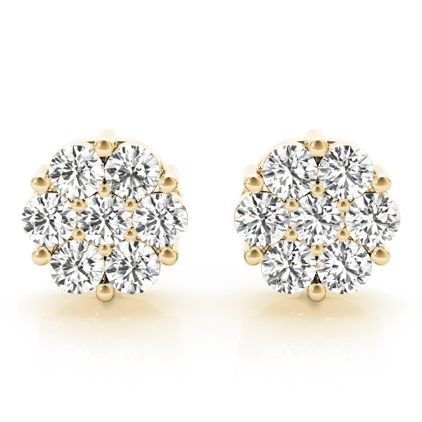 Diamond Cluster Earrings Yellow Gold