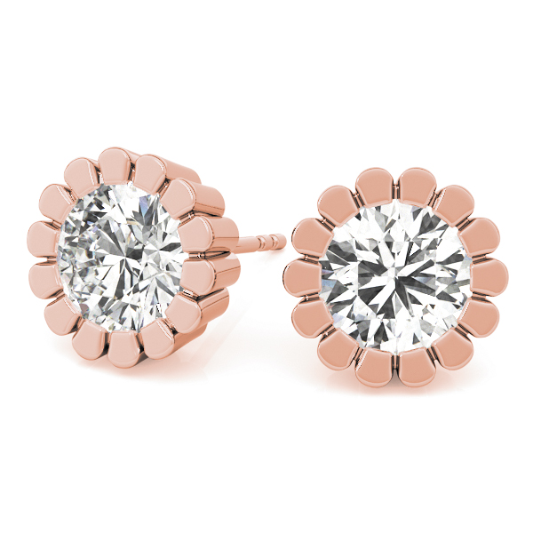 Round Flower Earrings 1.0 Ct. Rose Gold