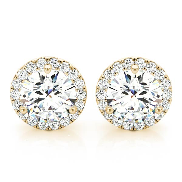 Diamond Halo Earring Yellow Gold 1.18 ct.