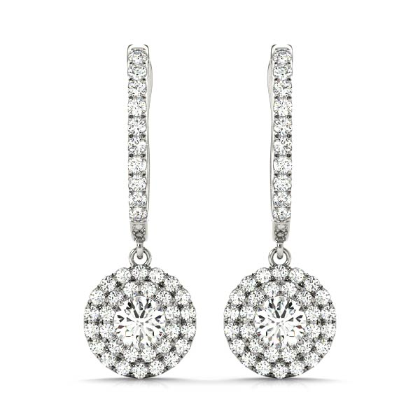 Drop Hoop Double Halo Diamond Earrings 1.01 ct.