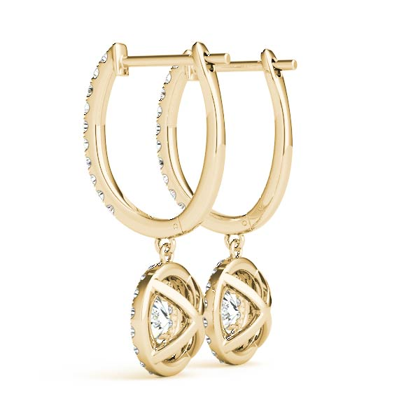 Drop Hoop Double Halo Diamond Yellow Gold Earrings 1.55 ct.