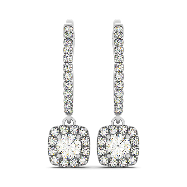 Cushion Shaped Halo Drop Hoop Earrings 0.54 ct.