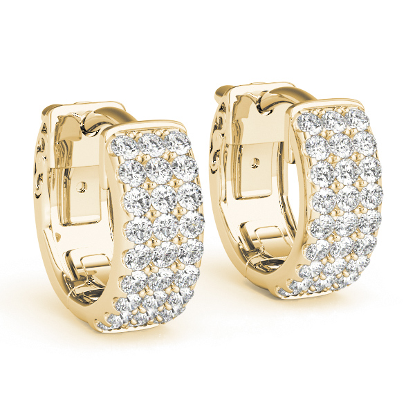 Huggies Triple Row Hoop Earrings in Yellow Gold, 1/2