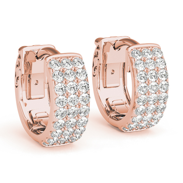 Huggies Triple Row Hoop Earrings in Rose Gold, 1/2