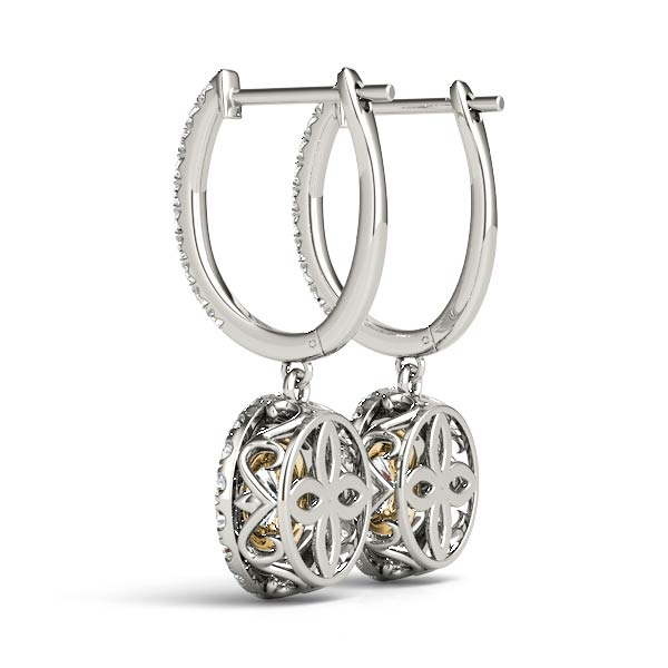 Double Halo Filigree Diamond Earrings Yellow Gold