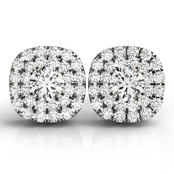 Cushion Shaped Double Halo Diamond Earrings 0.58 ct.