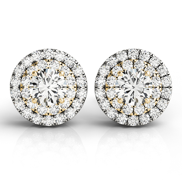 Double Halo Diamond Two Tone Earring 0.85 ct.