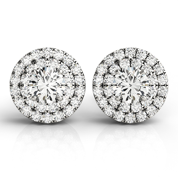 Double Halo Diamond Earrings 0.58 ct.