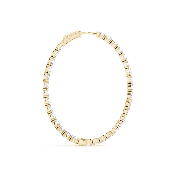 Oval Shaped Inside Outside Diamond Hoop Earrings, Core Lock, in Yellow-Gold,  1.75
