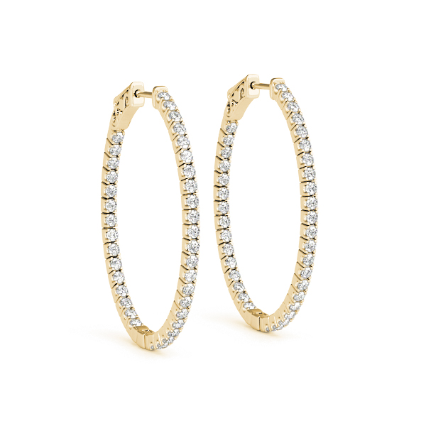Oval Shaped Inside Outside Diamond Hoop Earrings, Core Lock, in Yellow-Gold,  1.5