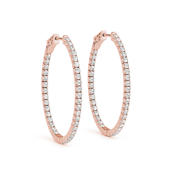 Oval Shaped Inside Outside Diamond Hoop Earrings, Core Lock, in Rose-Gold,  1.5
