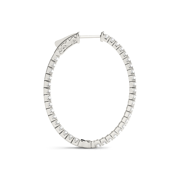 Oval Shaped Inside Outside Diamond Hoop Earrings, Core Lock, 1.5