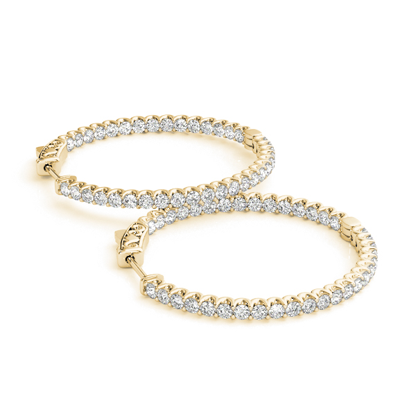Inside Outside Diamond Hoop Earrings, Core Lock, in Yellow Gold 1.2